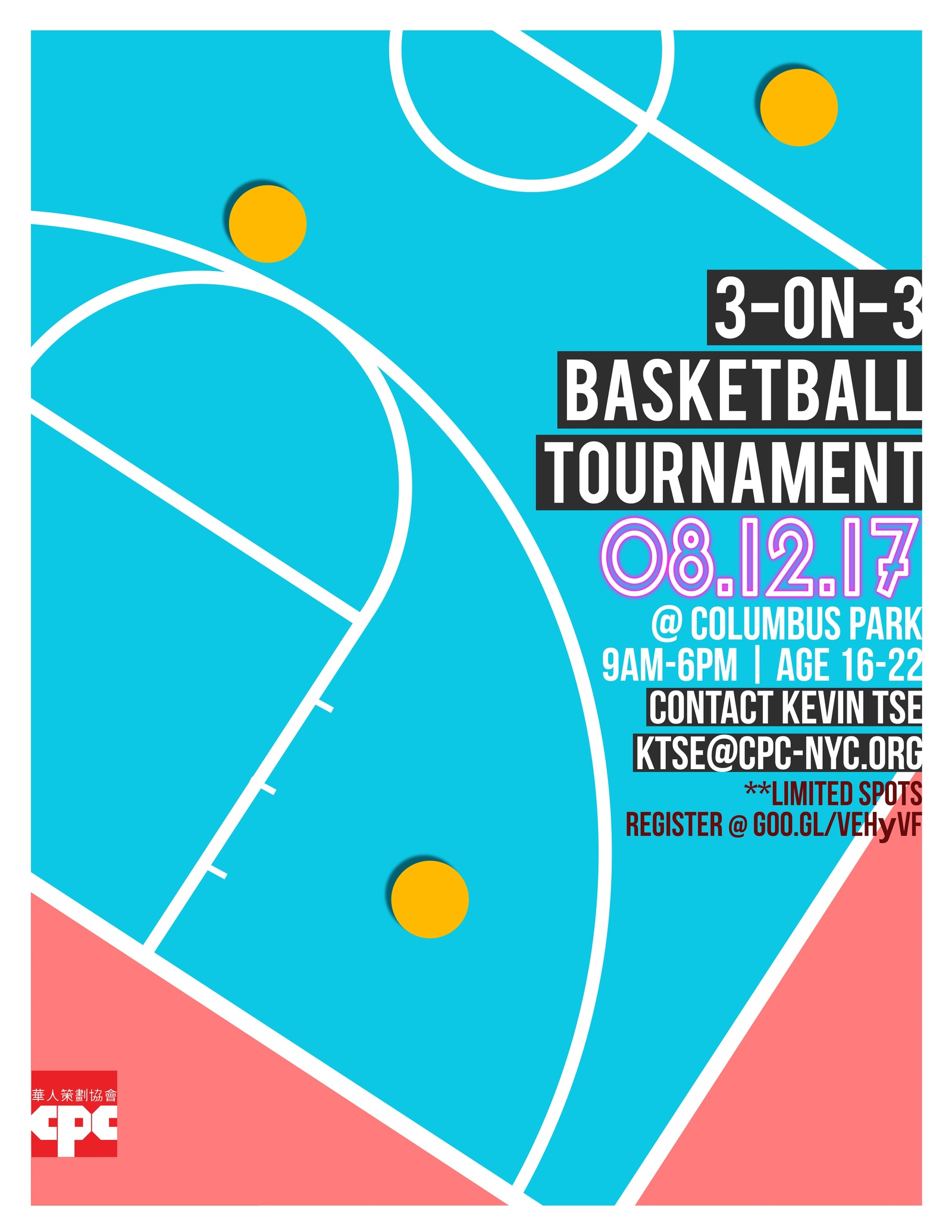CPC 3-on-3 Basketball Tournament August 19th 2017
