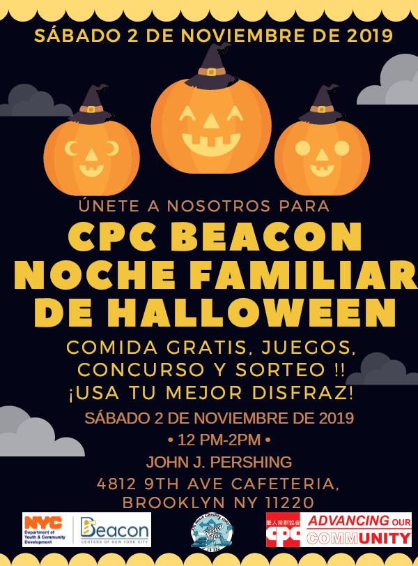 Únase al Centro Comunitario CPC Beacon en I.S. 220 para nuestra Noche familiar anual de Halloween.