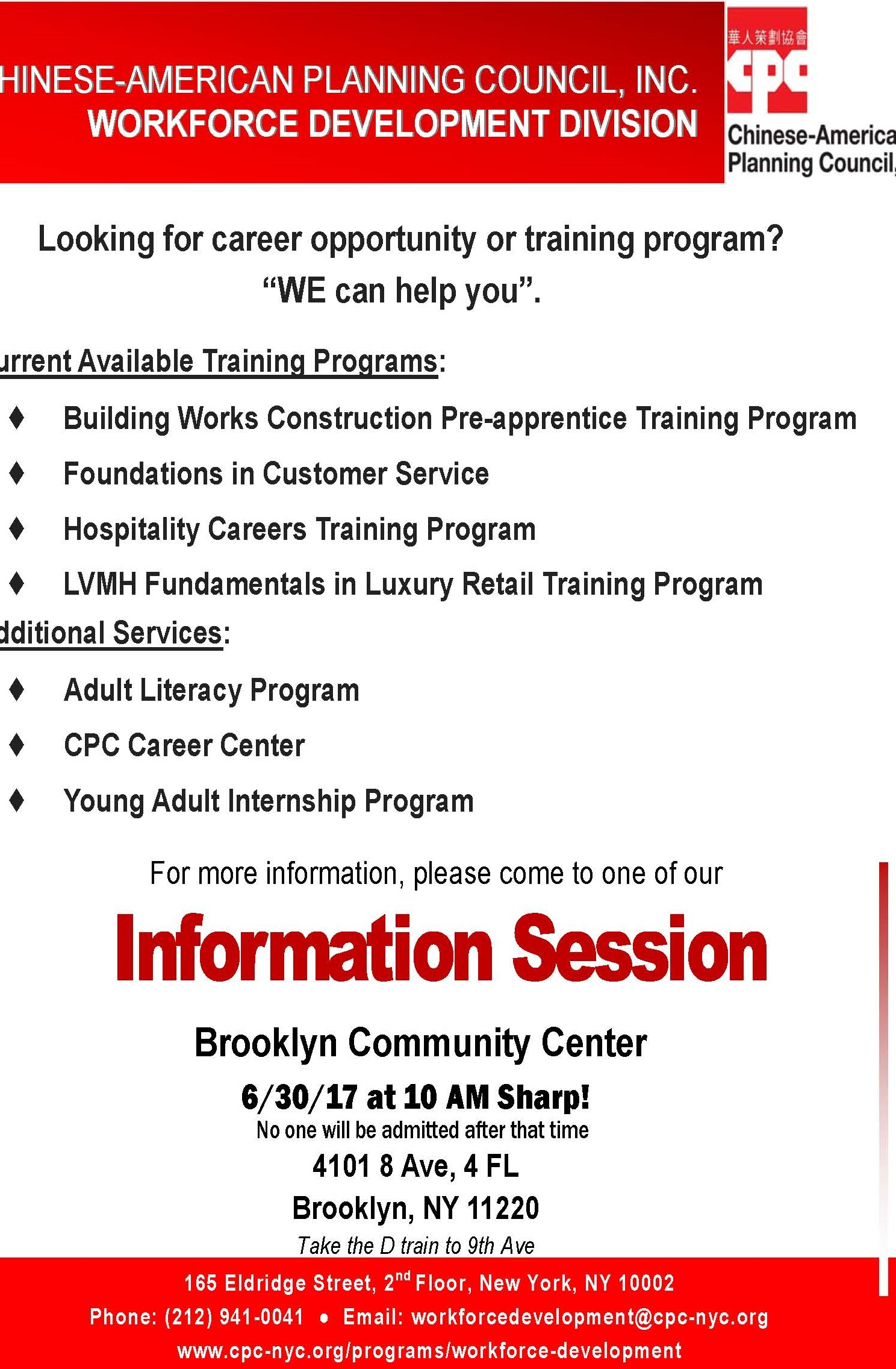 Workforce Development Division Brooklyn Information Session Overview