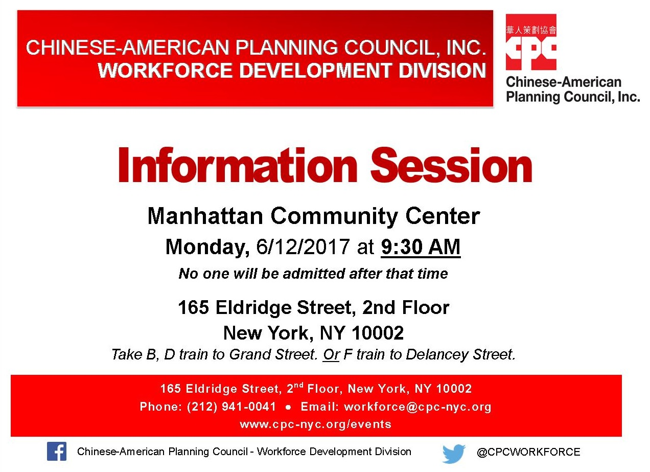 Workforce Development Division Manhattan Information Session  Lead