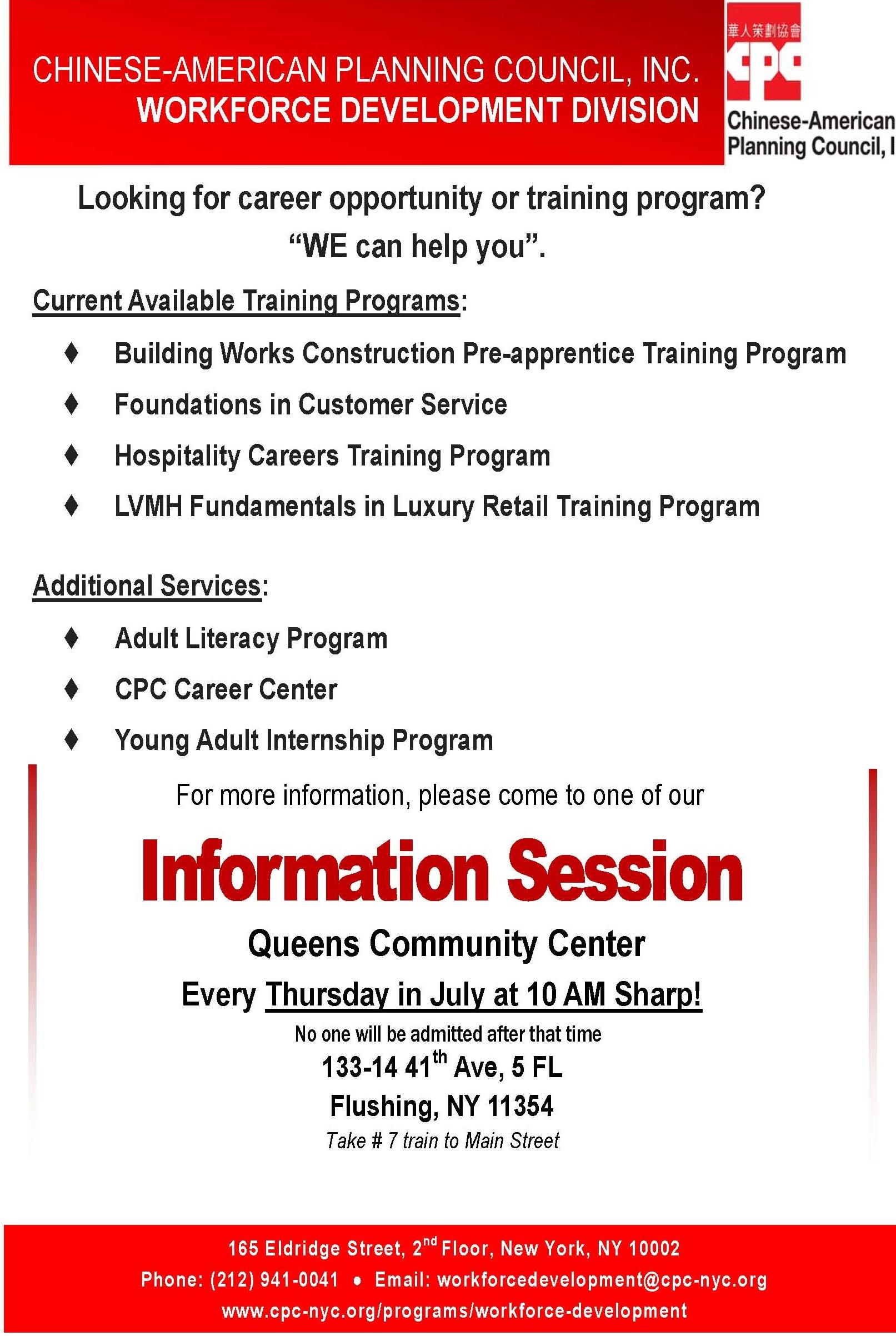 Workforce Development Division Queens Information Session