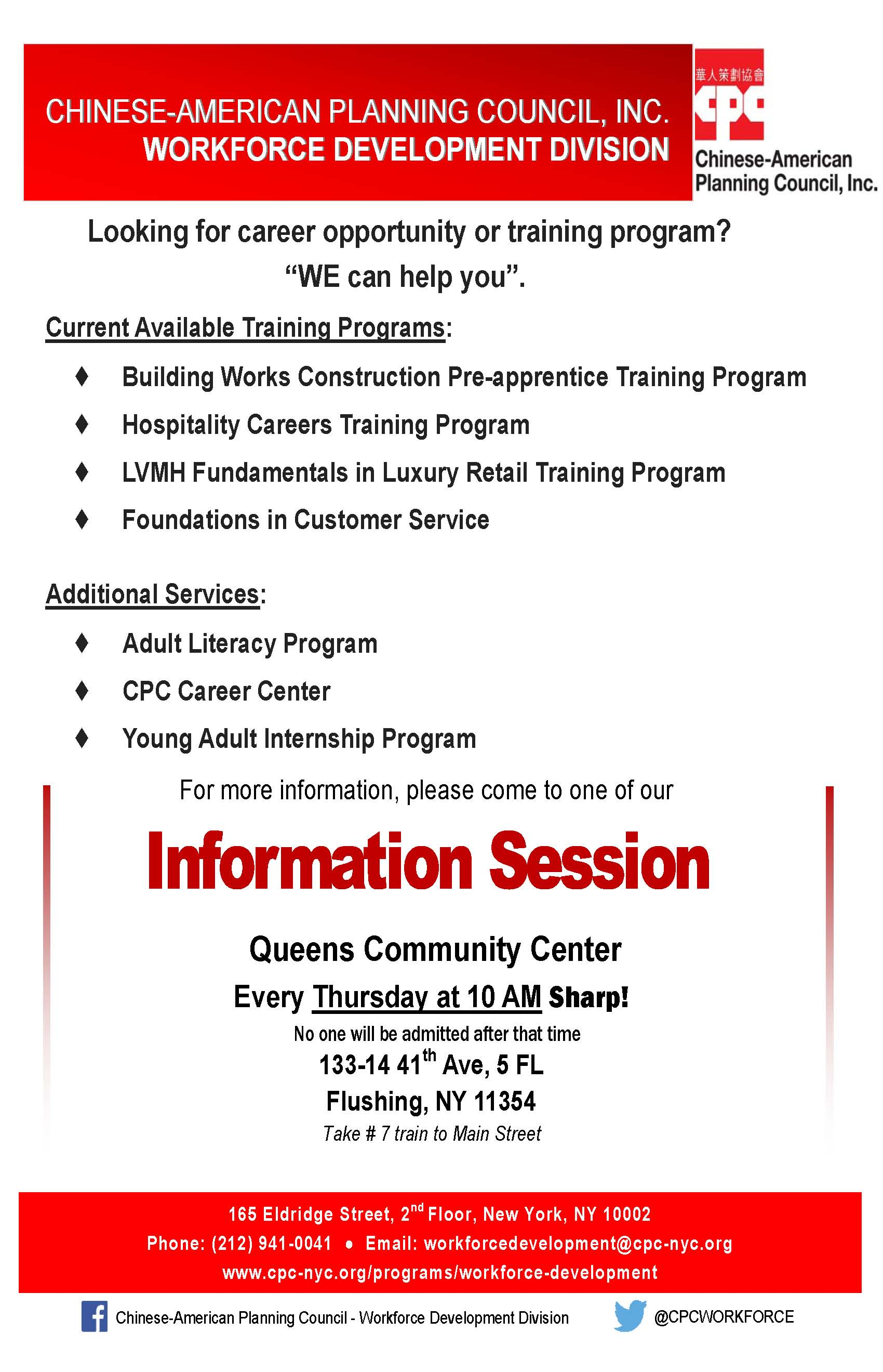 Workforce Development Division Queens Information Session May 2017