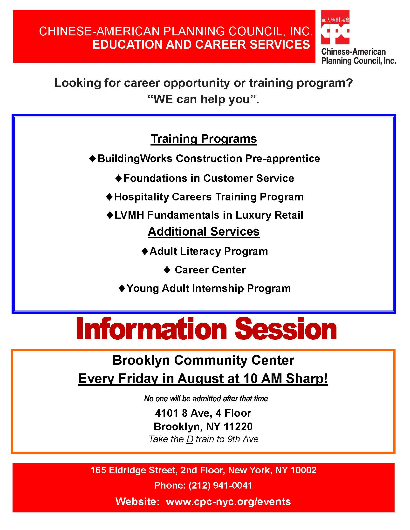Education and Career Services Brooklyn Information Session