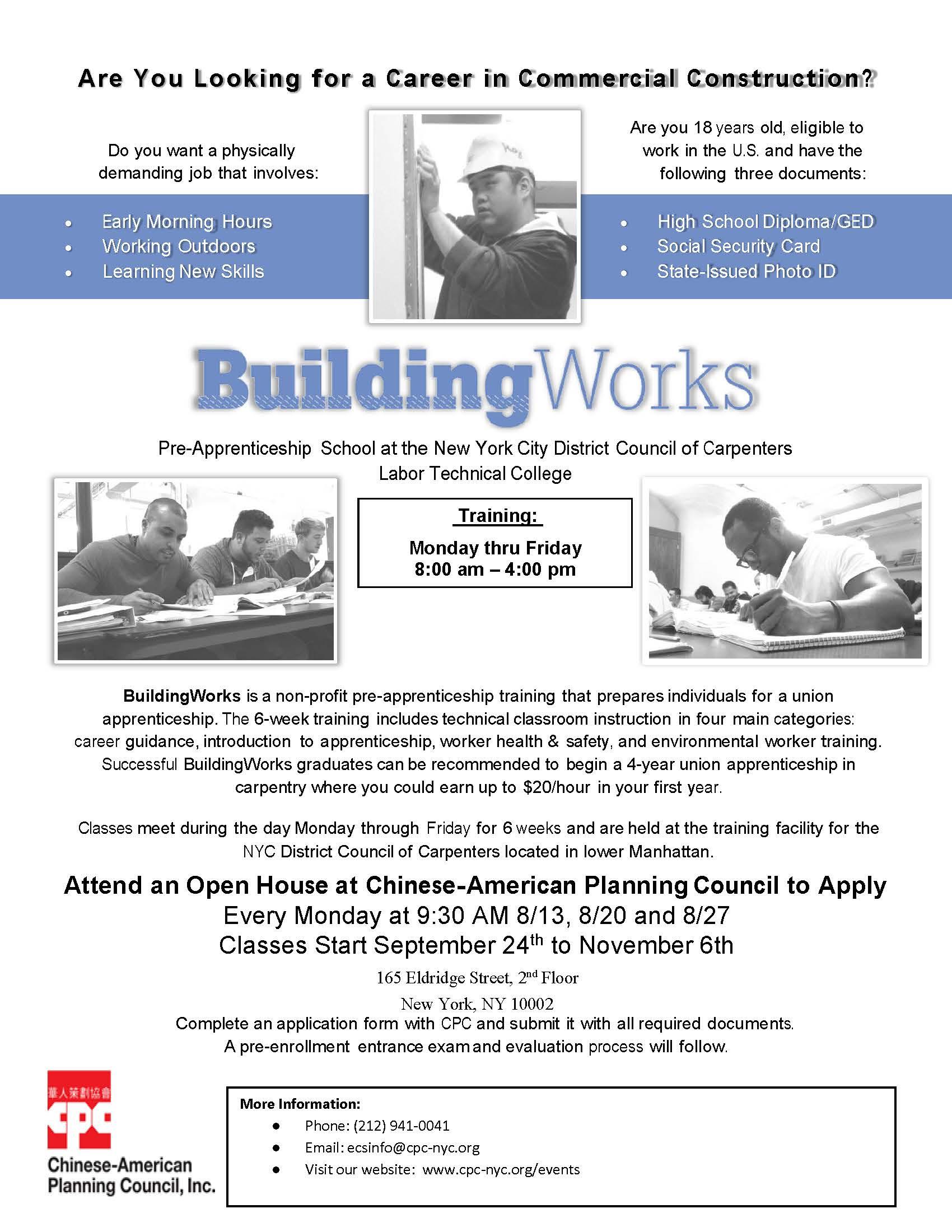 BuildingWorks Construction Pre-apprentice Training Recruitment Event