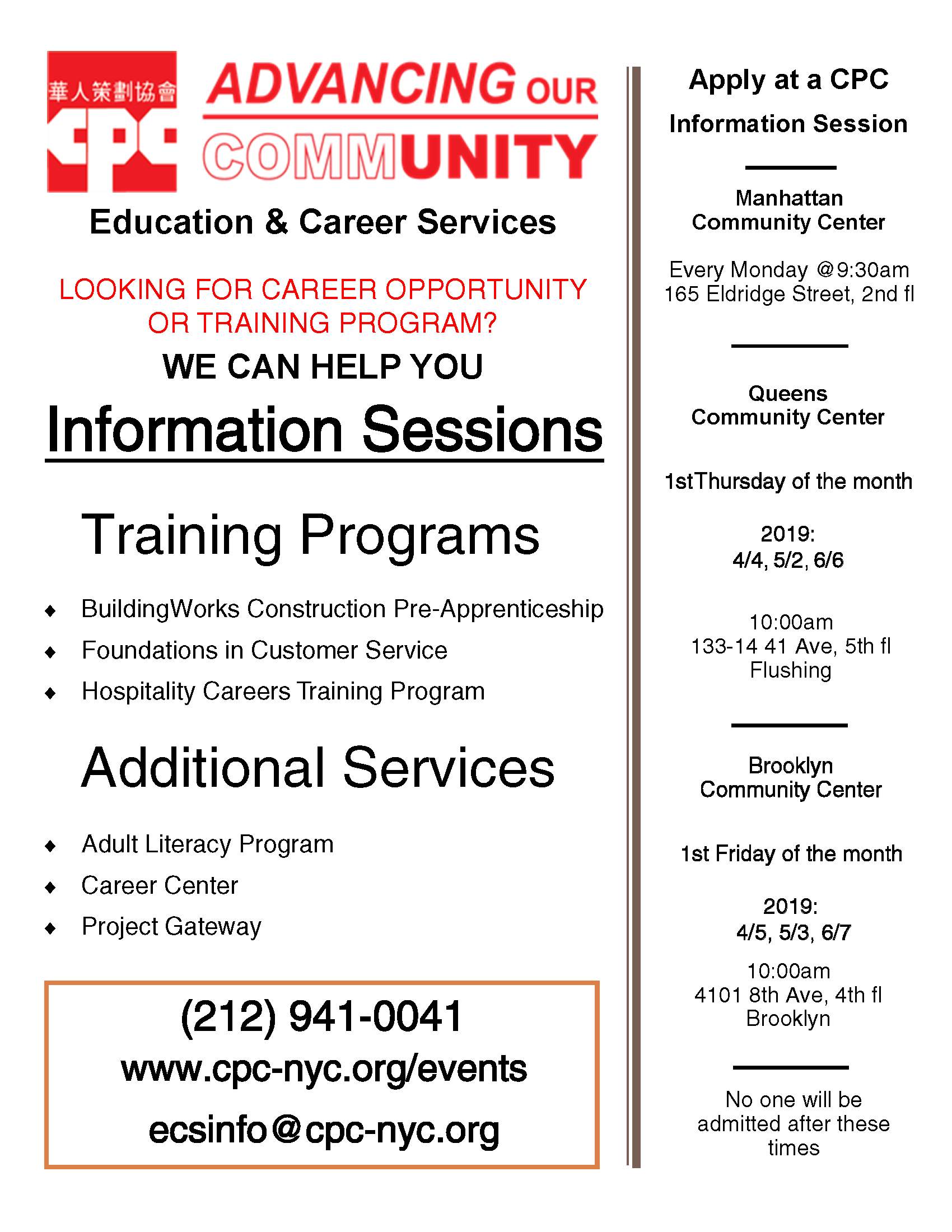 4/4: Workforce Training Programs - Information Session