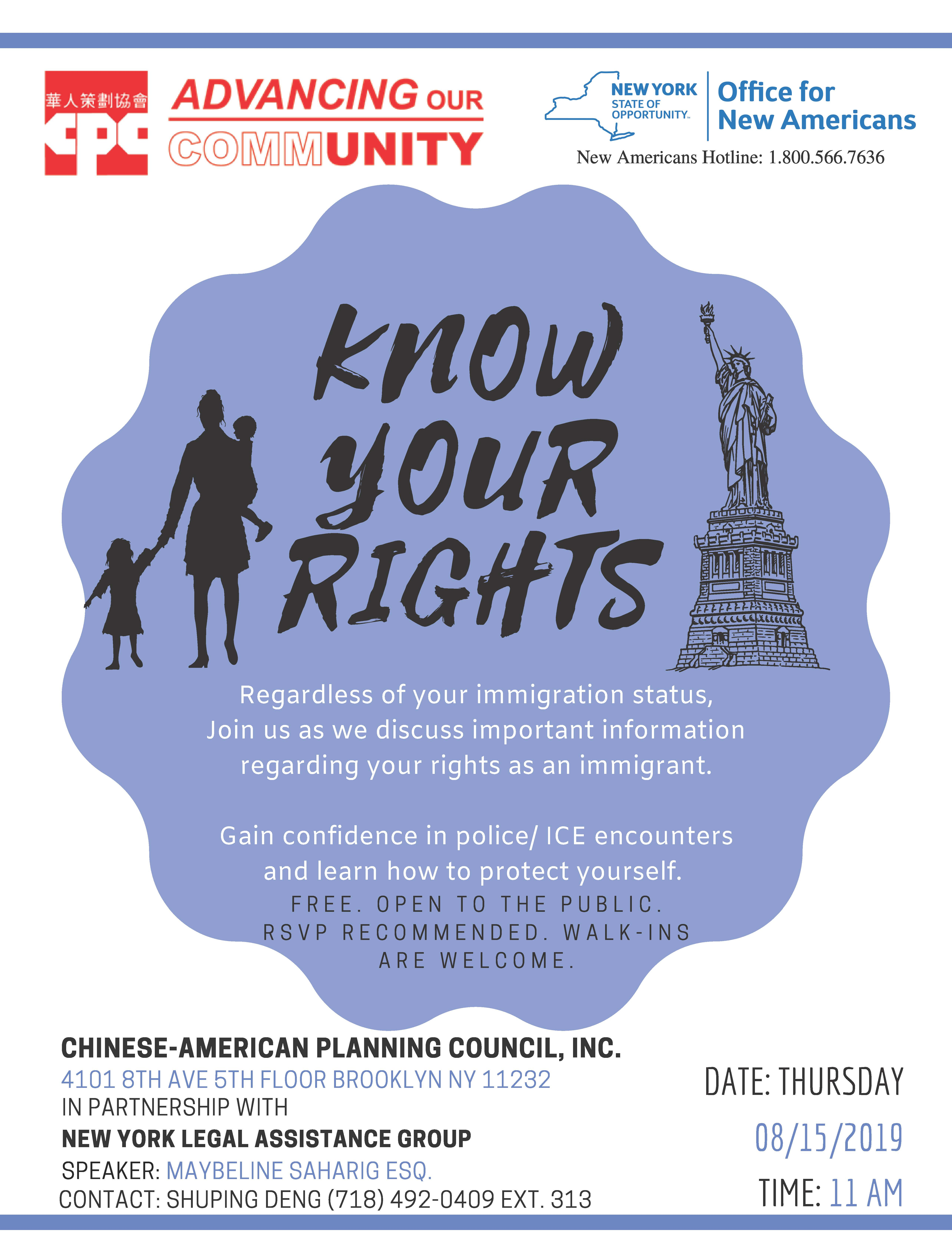 Know Your Rights Presentation | Chinese-American Planning
