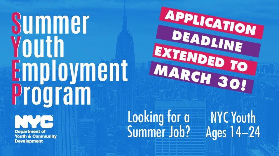 SYEP 2018 Deadline Extended March 30 2018