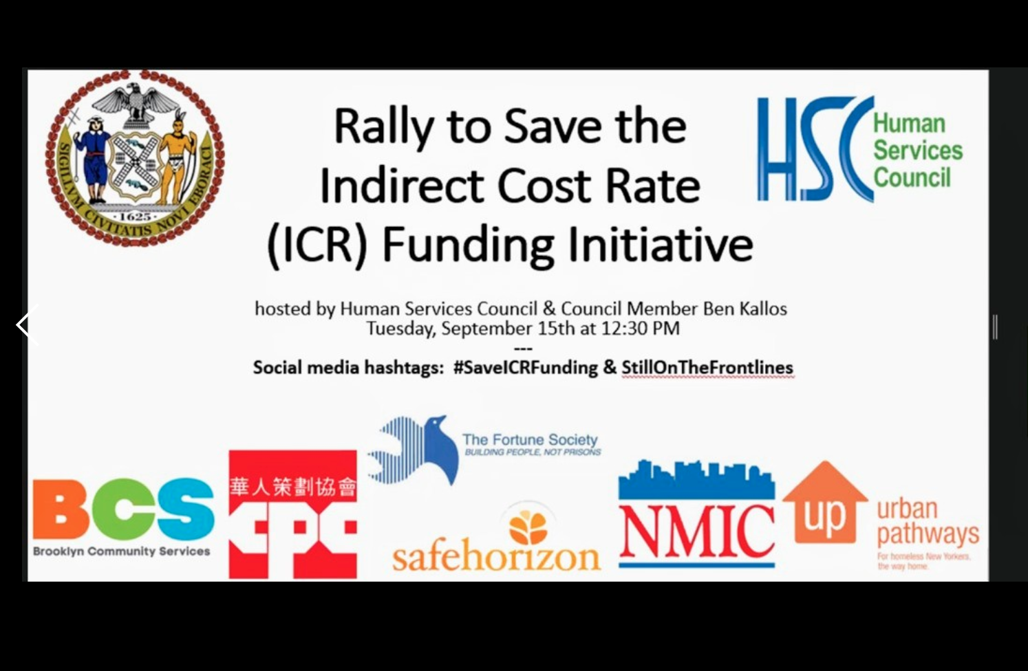 CPC Rallies with Nonprofits to Save the Indirect Cost Rate - Presentation Slide 1
