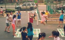 Kids playing jump rope