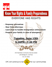 Know Your Rights & Family Preparedness Workshop Flyer