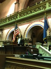 CPC Staff tests Speaker Heastie's gavel in the Assembly Chamber