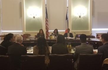 Emmy Lam (3rd from right) Testifying at Youth Services Committee Hearing