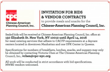Invitation for Bids & Vendor Contracts to Provide Meals for CPC