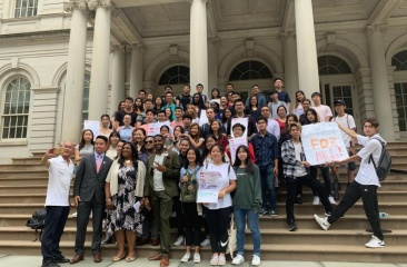 CPC's SYEP Youth On Steps of City Hall with Public Advocate Williams and Council Member Debi Rose
