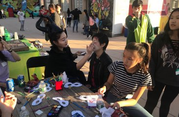 Face painting at the Youth Opportunity Hub's Fall Festival event