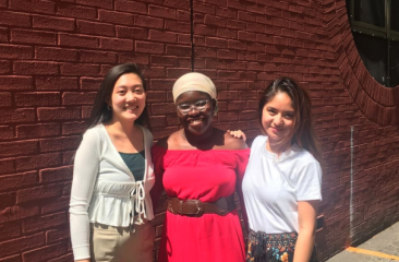 Peer Educators Joy Ling, Amanda Sowah, and Yeda Dayao