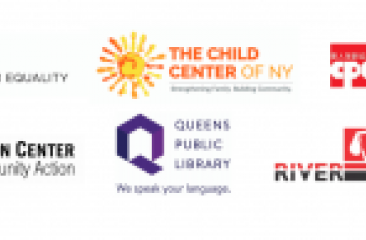 logo of collaborative partners including CPC, Queens Library, Child Center of NY, Asian Americans for Equality, and MinKwon