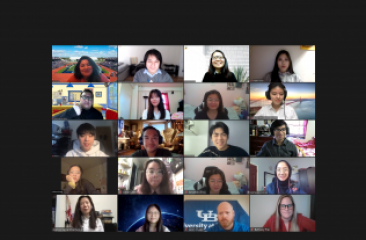 Screenshot of Zoom meeting with UB admissions officers and CPC youth and staff